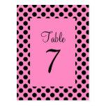 Pink and Black Polka Dot Table Number Postcard Post Card