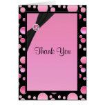 Pink and Black Polka Dot Thank You Card Greeting Cards