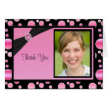 Pink and Black Polka Dot Thank You Card with Photo Greeting Cards