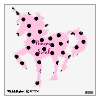 Pink and Black Polka Dot Unicorn Wall Sticker