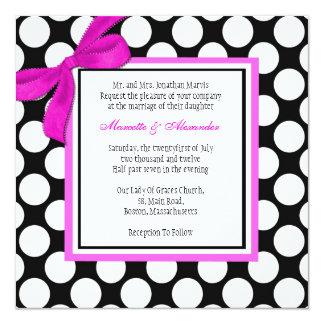 Pink and Black Polka Dot Wedding Invitation