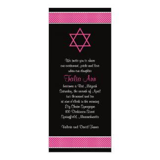 Pink and Black Polka Dots Bat Mitzvah Invitation
