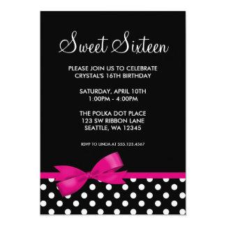 Pink and Black Polka Dots Bow Sweet 16 Birthday Card