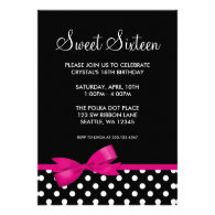Pink and Black Polka Dots Bow Sweet 16 Birthday Announcement