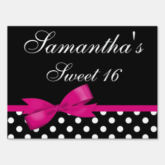 Pink and Black Polka Dots Bow Sweet 16 Birthday Lawn Sign