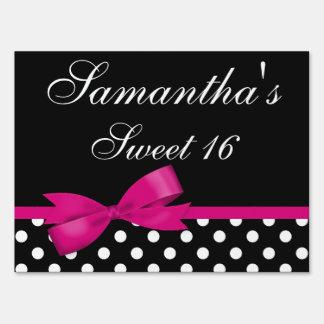 Pink and Black Polka Dots Bow Sweet 16 Birthday Yard Sign