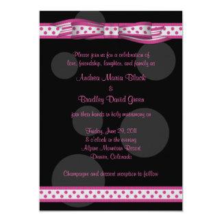 "Pink and Black Polka Dots Customizable Invitation 5"" X 7"" Invitation Card"