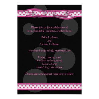 Pink and Black Polka Dots Customizable Invitation