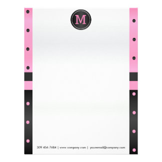 Pink and Black Polka Dots Letterhead