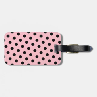 Pink and Black Polka Dots Luggage Tag