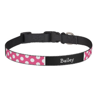 Pink and Black Polka Dots Monogram Pet Collar