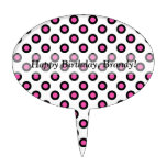 pink and black polka dots products cake toppers
