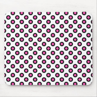 pink and black polka dots products mouse pad
