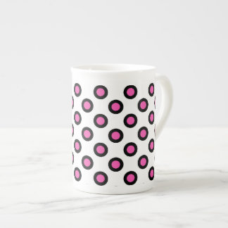 pink and black polka dots products tea cup