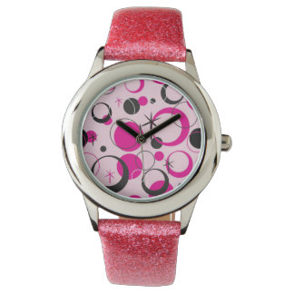 Pink and Black Polka Dotted Watches