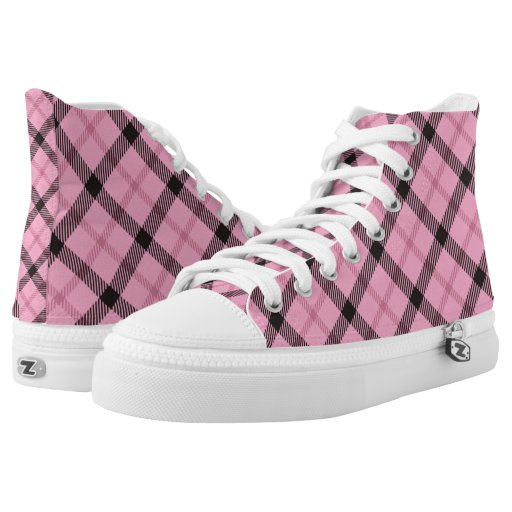 pink and black preppy plaid printed shoes zazzle