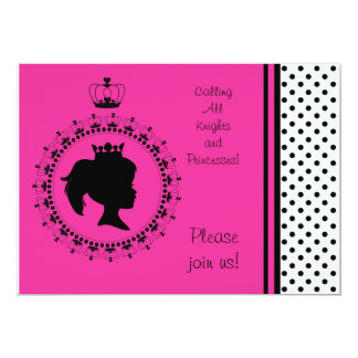 Pink and Black Princess 5x7 Birthday Invitations