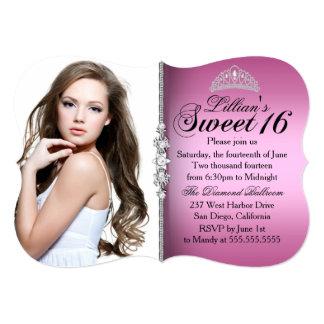 Pink and Black Princess Tiara Sweet 16 Birthday Card
