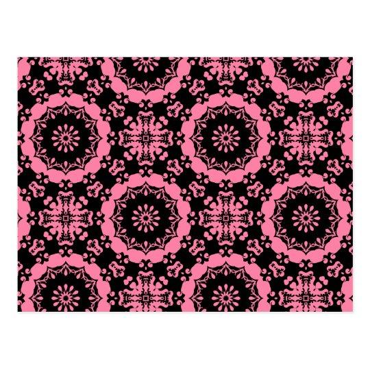 Pink and black punky kaleidoscope postcard