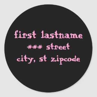 pink and black return address label - personalize classic round sticker