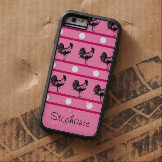 Pink and Black Roosters, Polka Dots and Stripes Tough Xtreme iPhone 6 Case