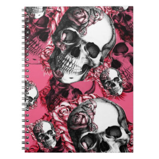 Pink and black rose skull pattern. notebook