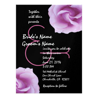 PInk and Black Roses Wedding Template Announcements