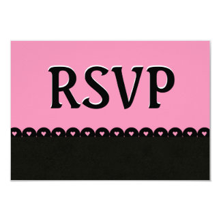 Pink and Black RSVP Hearts Scalloped Lace V06 Card