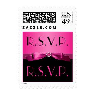 Pink and Black RSVP Postage