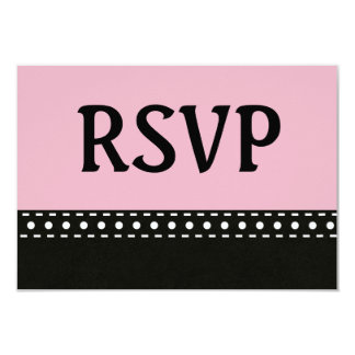 Pink and Black RSVP Stitches and Polka Dots V10A Card