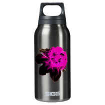 Pink and Black Ruffled Daffodil Insulated Water Bottle