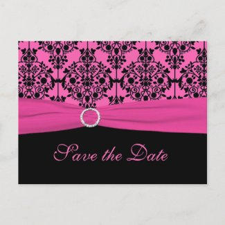 Pink and Black Save the Date Postcard postcard