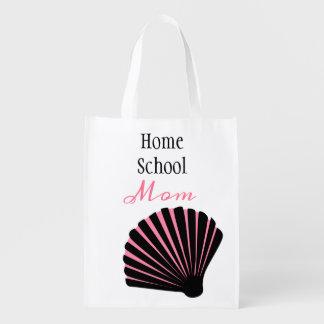 Pink and Black Seashell Homeschool Mom Reusable Grocery Bag