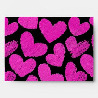Pink and black sketchy hearts Envelope