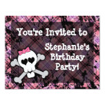 "Pink and Black Skull Heart Party Invitations 4.25"" X 5.5"" Invitation Card"
