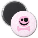 Pink and Black Skull, on a Pink Pattern. Fridge Magnets
