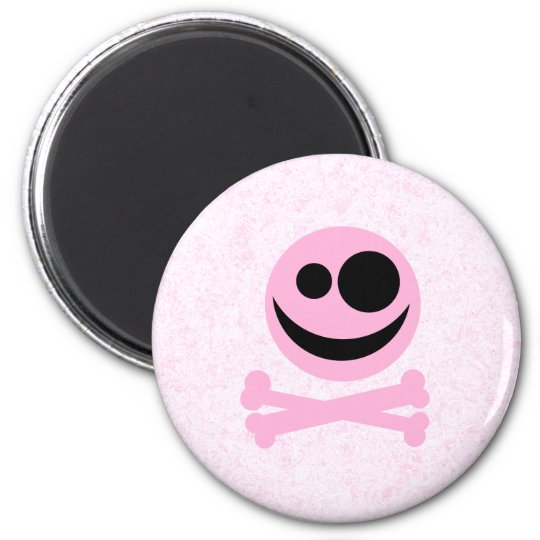 Pink and Black Skull, on a Pink Pattern. Magnet