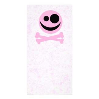 Pink and Black Skull, on a Pink Pattern. Customized Photo Card