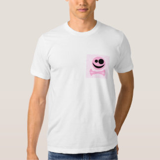 Pink and Black Skull, on a Pink Pattern. T-Shirt