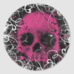 Pink and Black Skull Stickers