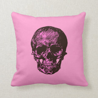 Pink and Black Skull Throw Pillows