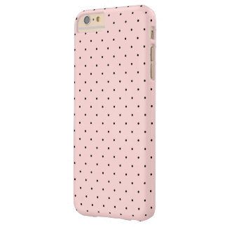 Pink and Black Small Polka Dots Pattern Barely There iPhone 6 Plus Case