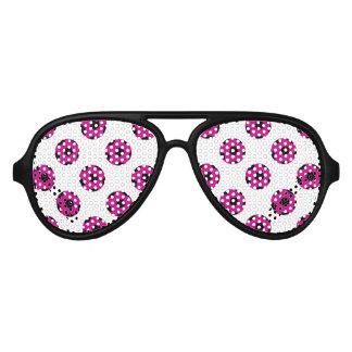 Pink and Black Soccer Ball Pattern Aviator Sunglasses