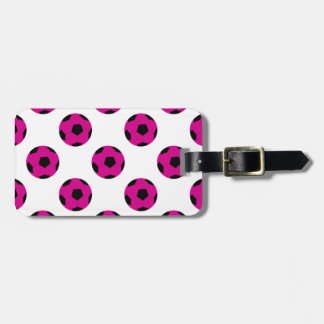 Pink and Black Soccer Ball Pattern Bag Tag
