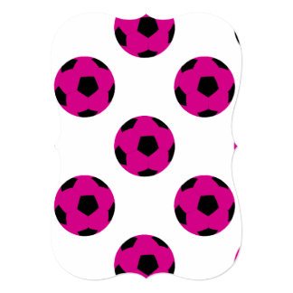 Pink and Black Soccer Ball Pattern Card