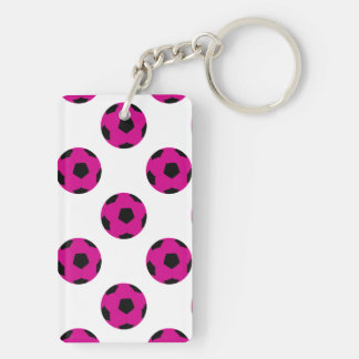Pink and Black Soccer Ball Pattern Double-Sided Rectangular Acrylic Keychain
