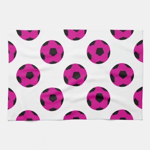 Pink And Black Soccer Ball Pattern Hand Towels Zazzle