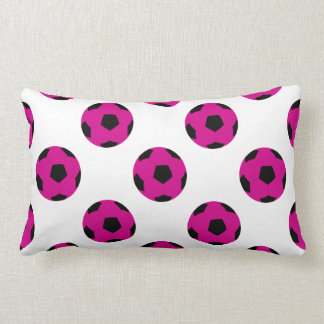 Pink and Black Soccer Ball Pattern Throw Pillow