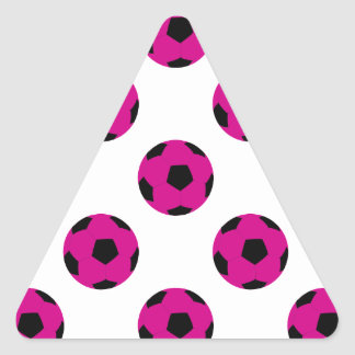 Pink and Black Soccer Ball Pattern Triangle Sticker