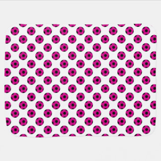 Pink and Black Soccer Ball Pattern Receiving Blanket